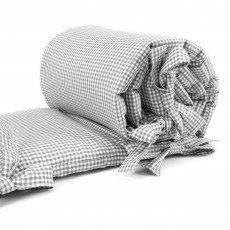 Sugarapple Baby Nestchen Bettumrandung dick gepolstert für Beistellbetten, Kopfschutz und Kantenschutz für babybeistellbetten, Bettnestchen Maße: 150 x 25 cm, Karo grau