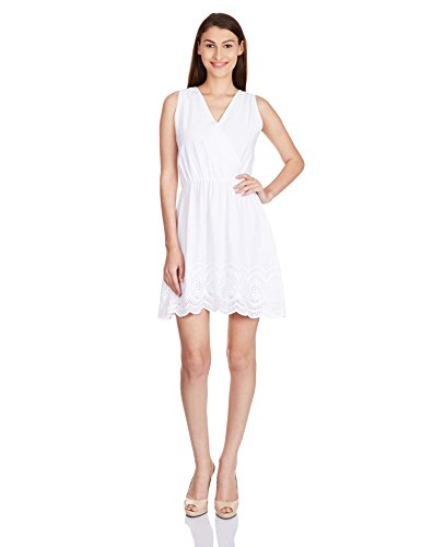 Anaphora Women's Cotton Skater Dress (56174_White_Medium)  available at amazon for Rs.479