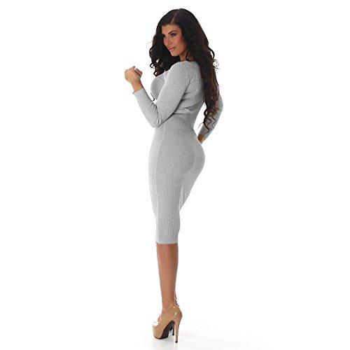 Enzoria Damen Kleid, ein wunderschönens, leicht glänzendes Strickkleid mit langen Ärmeln und Rundhalsausschnitt, in vielen Farben erhältlich, 34-38 Grau
