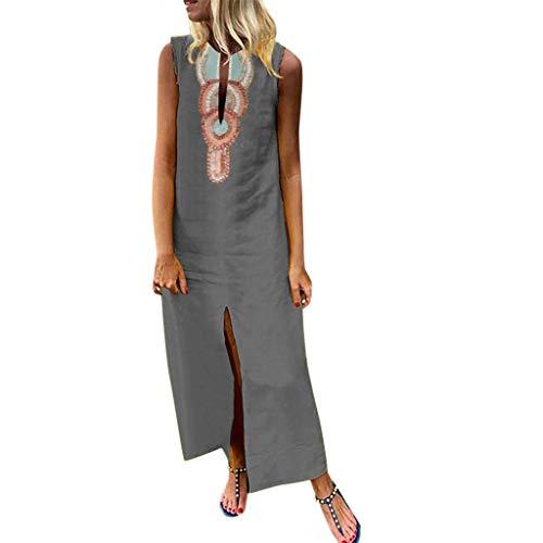 Damen Böhmischen Gedruckten Sommerkleid Freizeitkleider ärmellose V-Ausschnitt Leinen Maxi-Kleid Split Hem Baggy Kaftan Fashion Tops Leinenkleid Tuchkleid Blusenkleid X-Grau2 M