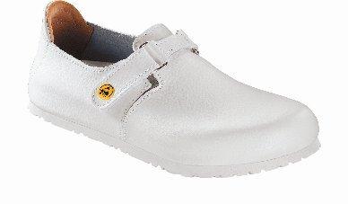 Preisvergleich Produktbild Birkenstock 583158-39-schmales Fußbett Schuh LINZ Antistatik / Naturleder WEISS Gr. 39