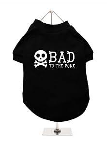 "''Bad To The Bone'' UrbanPup Dog T-Shirt (Black / White) (X-Large - Body Length: 16"" / 40cm) from UrbanPup"