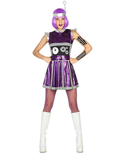 KULTFAKTOR GmbH Süsse Roboter-Frau Damenkostüm Androide lila-Silber XS / S (Roboter Kostüm Frauen)
