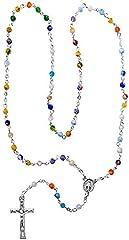 Idea Regalo - Kaltner Präsente, rosario corto (10 grani), idea regalo per uomo e donna, con ciondolo a forma di crocifisso e perle di vetro bianco