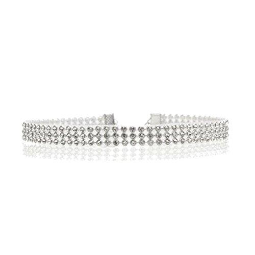 Yogogo Voller Diamant Kristallrhinestone Choker Halsketten Hochzeits Schmucksachen für Frauen (A)