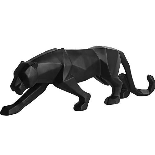 Unbekannt Kreative Abstrakte Leopard Skulptur Harz Geometrische Leopard Statue Wildlife Craft Dekoration Geschenk (Black Panther)