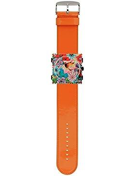 S.T.A.M.P.S. Stamps Uhr komplett - Zifferblatt Bird of Paradise mit Lederarmband glossy orange