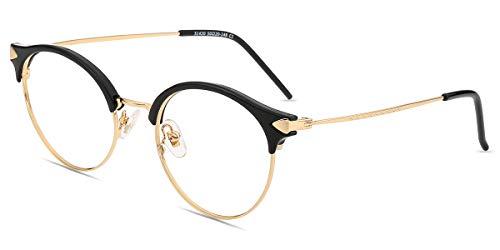 Zinff S1420 Geek Chic Damen Brille Retro Vintage Rund brille Clear Linsebreite 50mm mit Blaulicht-Filter Schwarz
