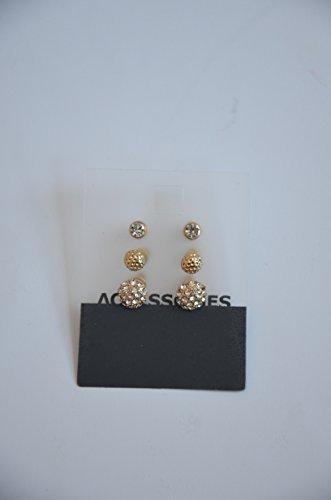 Ohrringe Accessoires Schmuck Modeschmuck - 3 Paar - Ohrringe mit und ohne Glitzersteine Inhalt: 3 Paar Farbe: Gold - Damit werden Sie richtig in Szene gesetzt werden.