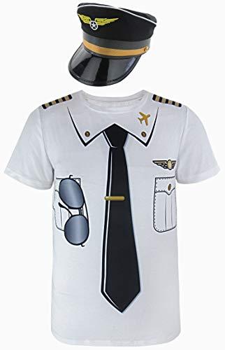 Cosavorock Herren Pilot Kostüm T-Shirts mit Pilot Hüte (L, Schwarz)
