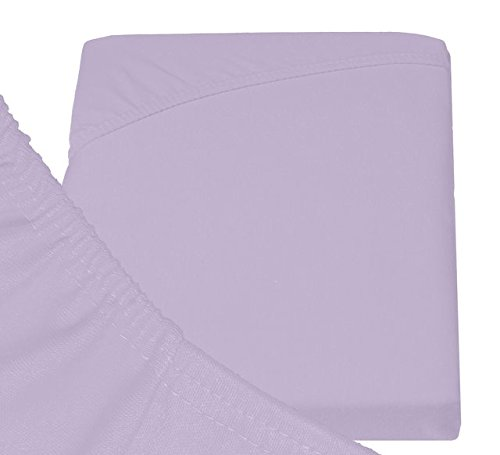 Double Jersey - Spannbettlaken 100% Baumwolle Jersey-Stretch bettlaken, Ultra Weich und Bügelfrei mit bis zu 30cm Stehghöhe, 140x200x30 Lavender - 6