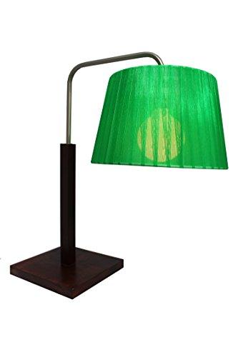§ § Tischleuchte oder Büro, Profiqualität. Design optimalen. gebeiztes Holz Mahagoni & Chrom matt. Lampenschirm aus Voile grün