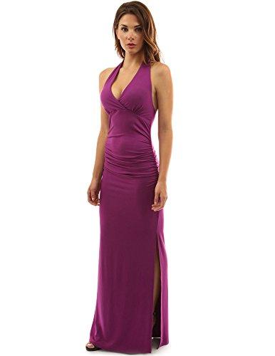 Empire Maxi (PattyBoutik Damen Halfter Empire-Taille Kleid Geraffte Seitenschlitz Maxi (Magenta 36/S))