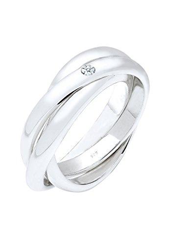 Elli PREMIUM Damen Ring 925 Sterling Silber Diamant 0,06 ct. Brillantschliff weiß Größe: 5 Preisvergleich