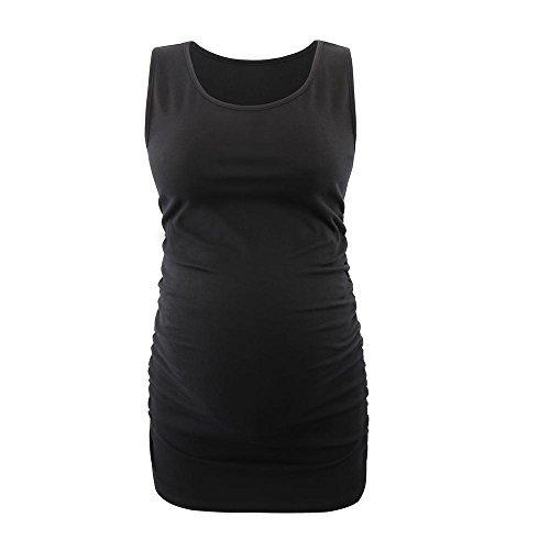 Schwangere Top, ZUMIY® Maternity-Shirt Schwangerschaft Stilltop, Frauen Baumwoll Rundhals Rüschen Taille Mutterschaft Unterwäsche