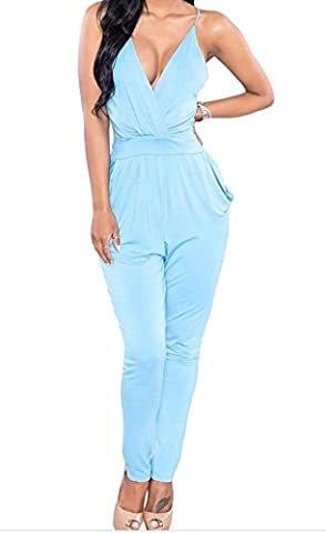 Bling-Bling Strappy Plunging V Neck Fitted Pant Jumpsuit(Blue,L)