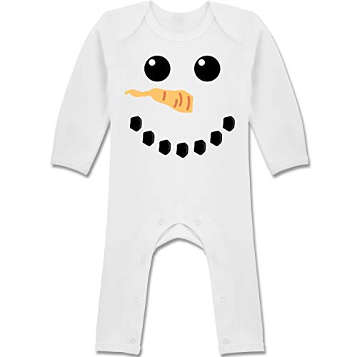Schnee Baby Kostüm Mädchen Weiße - Shirtracer Karneval und Fasching Baby - Schneemann Karneval Kostüm - 12-18 Monate - Weiß - BZ13 - Baby-Body Langarm für Jungen und Mädchen