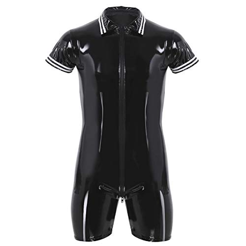 iixpin Homme Bodysuit Combinaison Cuir Faux Sexy Collant Brillant Manches Courtes Zip Costume de Club Bar Clubwear Performance Taillle M-XXL iixpin