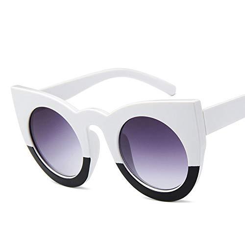QWERDF Katze Auge Sonnenbrille für Frauen, schwarz und weiß Vintage Kunststoff Rahmen Sonnenbrille, dicken Rahmen Cut-Out Flash Mirror Objektiv,A