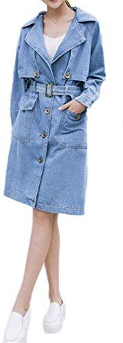 Lange Hülsen-Knopf-Denim-Graben-Mantel Frauen Oberbekleidung Lange Jean-Jacke Gürtel Blau