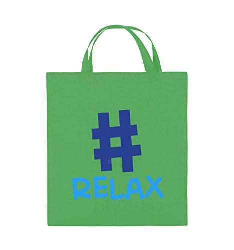 Buste Comedy - #relax - Borsa Di Juta - Manico Corto - 38x42cm - Colore: Nero / Bianco-neon Verde / Azzurro-blu Reale