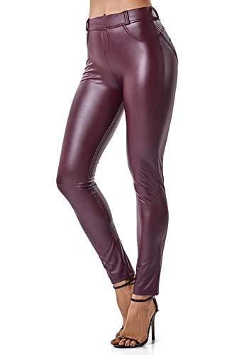 FITTOO Mujeres PU Leggins Cuero Brillante Pantalón