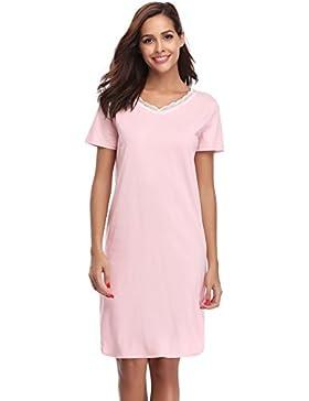 de5045e94d [Sponsorizzato]Hawiton Donna Pigiama Vestito Camicia da Notte Scollo V con  Pizzo Maniche Corte