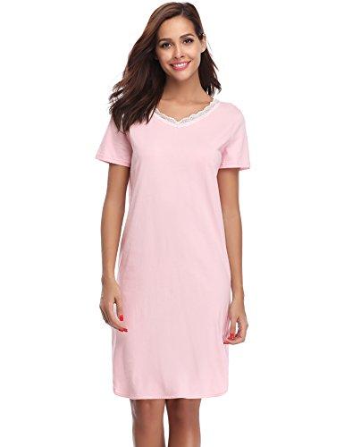 Hawiton Damen Nachthemd Kurz Baumwolle Spitze Nachtwäsche Nachtkleid Negligee Sleepshirt Kurzarm für Sommer Rosa XL - Rosa Sleepshirt