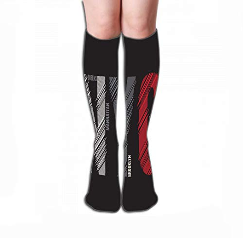 Jiuyiqiw3 Calze Alte Compression Socks 19.7'(50cm) Women Knee High or Men - Best Stockings for Running, Medical, New York Print Design Stamp Label typograp Typography