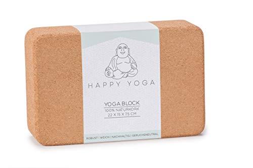Happy Yoga Block | Yogablock ökologisch hergestellt aus 100% Naturkork | Yogaklotz für Pilates, Yoga, Fitness und Meditation | Korkblock bestens geeignet für Anfänger und Fortgeschrittene