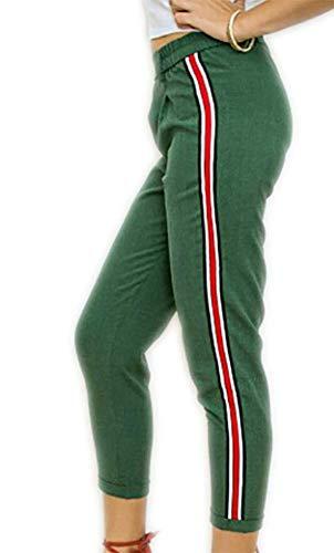 Keephen Cómodo Pantalones para Mujer Pantalones Deportivos Delgados Dos Tira Blanca roja...