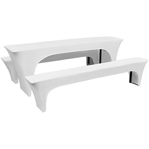 Stretch Biertischhusse für Bierzeltgarnitur Festzeltgarnitur 3er Set (Weiß, 50cm)