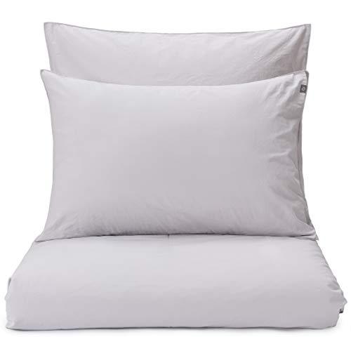 Bio-perkal-bettwäsche (URBANARA 135x200cm Einzelner Bettdeckenbezug 'Moledo' Silbergrau - 100% Bio-Baumwolle, Perkal-Bettwäsche - GOTS Zertifiziert - Bettbezug, Bettdecke)
