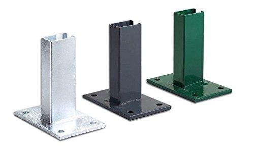 5 x Doppelstabmatten / Gitter-Zaun Pfosten-träger / Bodenanker aus verzinktem Stahl zum Aufdübeln von 6 x 4 cm Metall-Pfosten mit einem Plattenmaß von ca. 10 x 12 cm und Bohrungen von ca. 13 mm.