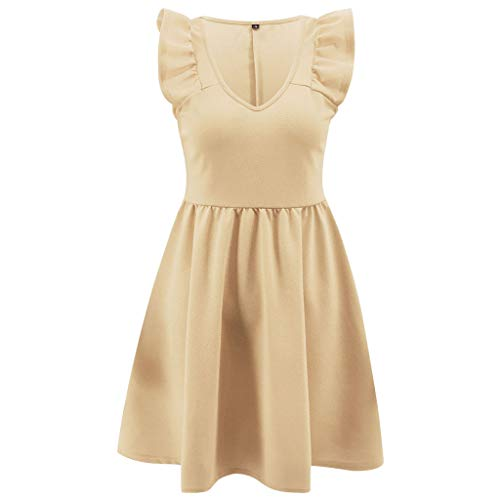 UFACE Kleid 50er Jahre Rockabilly Damen Vintage Polka Dots Blumendruck Bodycon Ärmellos Casual Abend Prom Swing Kleid Röcke ()
