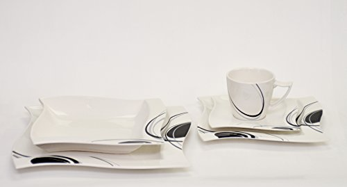 Kaffeeservice Scarlett 36-teilig eckig Porzellan für 12 Personen weiß mit schwarzem Dekor...