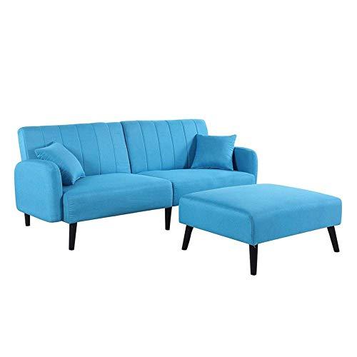 B.h.d divano angolare 3coperti convertibile–design classico–tessuto–colori diversi–200x 154x 85cm azzurro