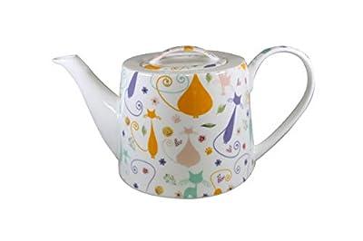 Jameson & Tailor - Théière moderne ronde en porcelaine brillante, modèle « Chats et motifs » - Multicolore - Capacité 1100ml - Résistante aux lave-vaisselles et micro-ondes