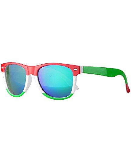 Caripe caripe Kinder Sonnenbrille Kinder Wayfarer Retro Design - barna (Einheitsgröße, country-Italy - bluegreen verspiegelt)