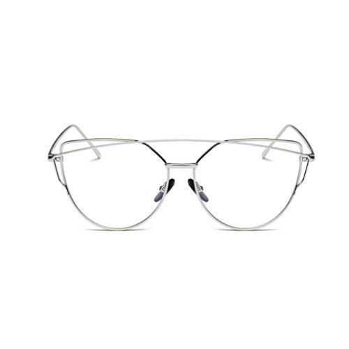 HLHN Twin-Träger klassische Frauen Metallrahmen Ultra-Flexible Spiegel Sonnenbrille Cat Eye Brillenmode Reise-Sonnenbrille (Silber A)
