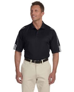 Adidas Men's ClimaLite 3 Stripes Cuff Polo Shirt, XXX-Large, BLACK/WHITE (Golf Climalite)
