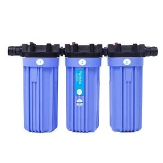 Pureau 1H+ Combined Water Softener and Whole House Water Filter, 1 Bathroom Flat or Home, no Salt Requirement, Great Filtered Water, Easy Change cartridges, Produces Molecular Hydrogen for Health