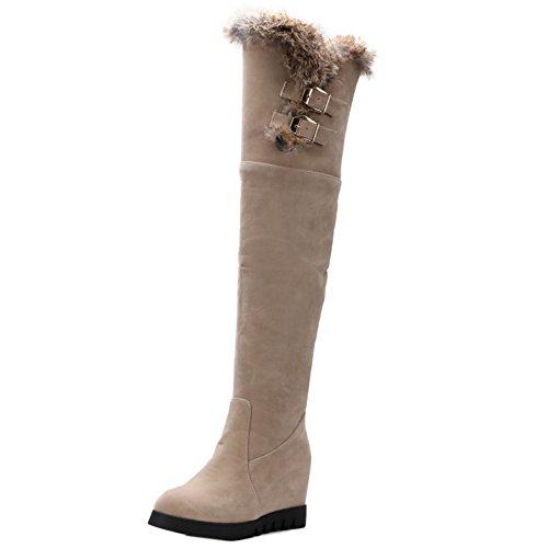 TAOFFEN Damen Winter Langschaft Stiefel Reißverschluss Schneestiefel Beige