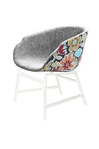 Meubletmoi Fauteuil Tissu Gris et Motif Fleurs - Assise Large Confortable - Structure Blanche résistante - Design Contemporain - FLORUS