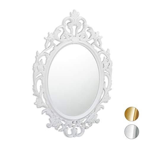 Relaxdays Barock Spiegel, ovaler Spiegel zum Aufhängen, Antik Barock Design, mit Rahmen, Flur, Bad & Wohnzimmer, weiß