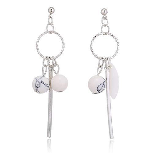 Lywljg Runde Sling Perlen Lange Blätter Quaste Ohrringe asymmetrische Ohrringe Perlen Sling