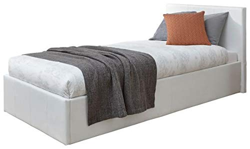 Caspian Ottoman Gas Lift Up Storage Bed Black Brown White (White, 3ft Single)