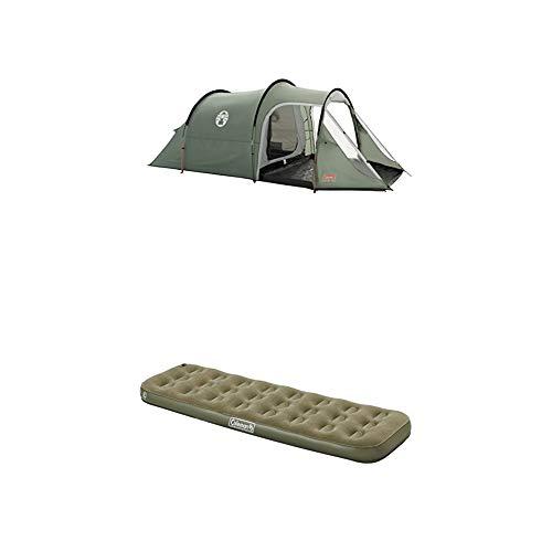 Coleman Zelt Coastline 3 Personen, grün + Luftbett Comfort Bed Compact Single, Indoor/Outdoor Luftmatratze 1 Person, Velours Gästebett, Komfort Einzelbett, Campingbett für Wandern, Trekking