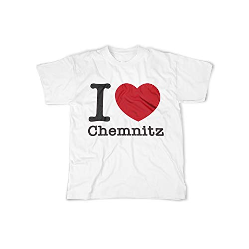 Herren T-Shirt mit I Love Chemnitz Aufdruck in White Gr. XL I Love Chemnitz Design Top Shirt Herren Basic 100% Baumwolle Kurzarm