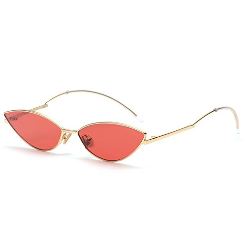 ZHPJJLYHTQ 2 PCSBlue Mercury Sonnenbrillen_Europäischen und Amerikanischen kleine Katze Augen Sonnenbrillen, Gold frame Red film